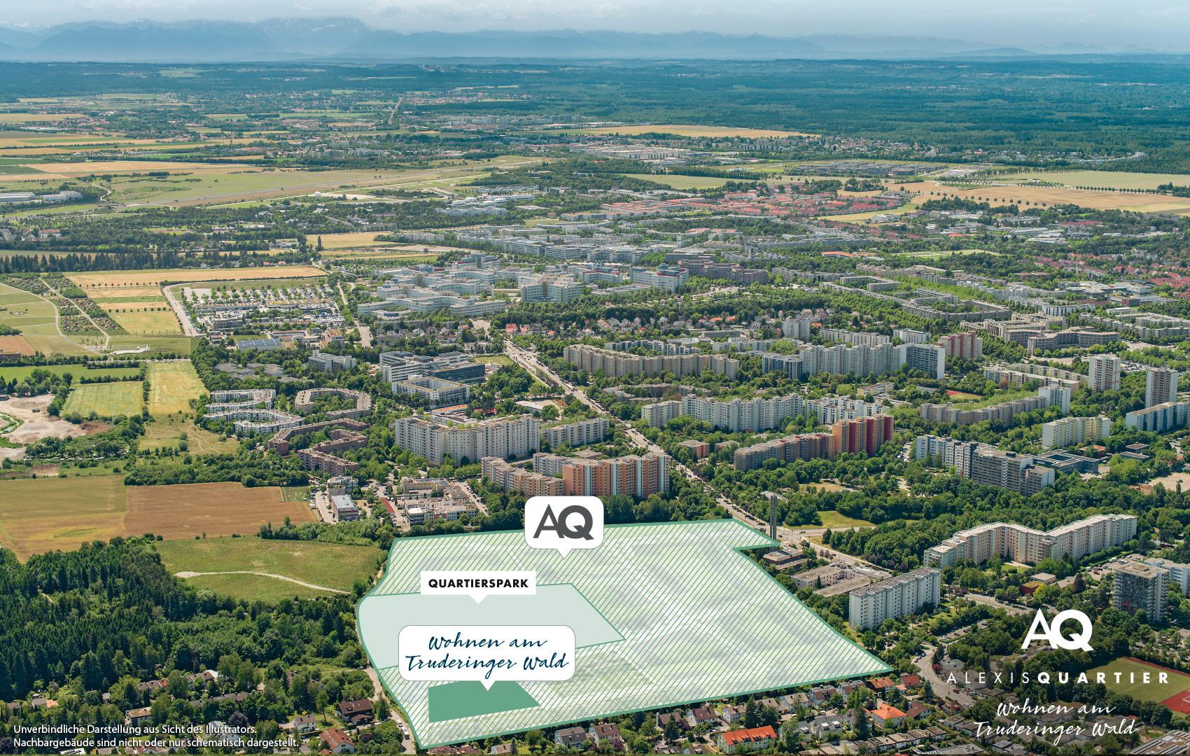 Immobilie Alexisquartier - Alexisquartier - Wohnen am Truderinger Wald - Luftbild