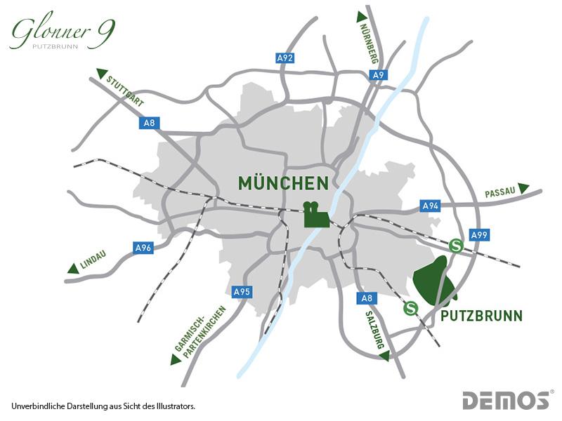 Immobilie Glonner 9 - Münchenkarte