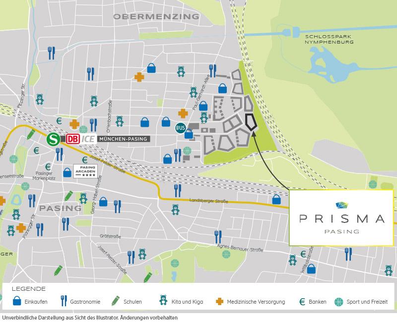 Immobilie Prisma Pasing - Stadtplanausschnitt