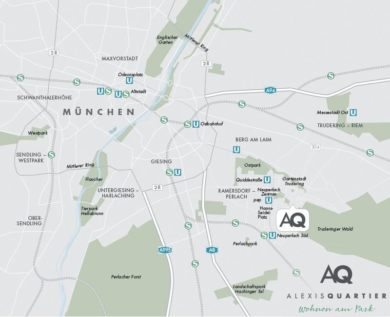 Immobilie Alexisquartier - Wohnen am Truderinger Wald - Stadtplanausschnitt 1