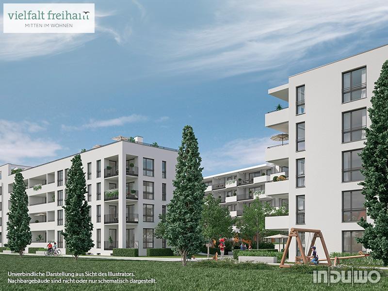 Immobilie Vielfalt Freiham - Illustration Häuser 1, 7