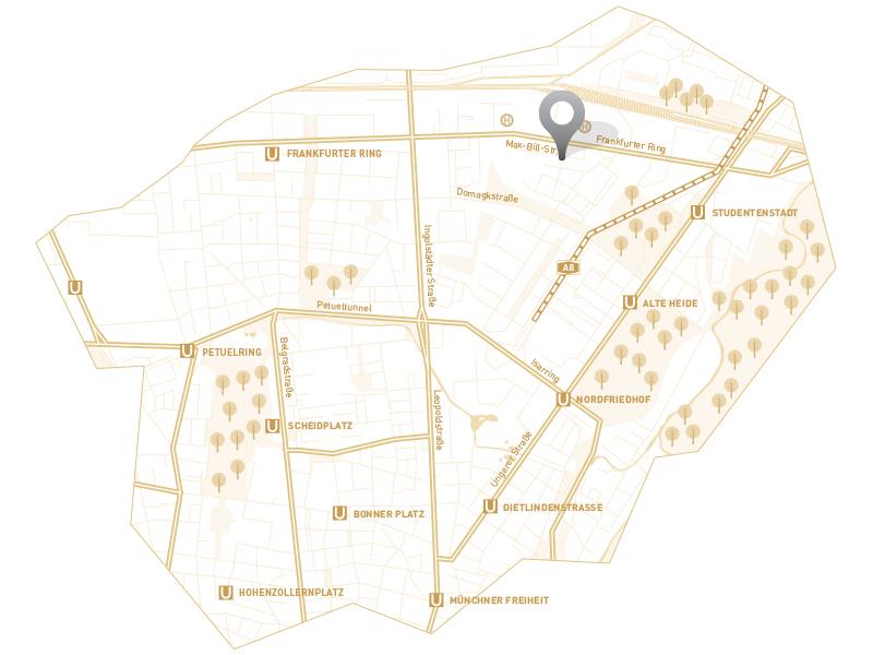 Immobilie Max Schwabing - Stadtplanausschnitt