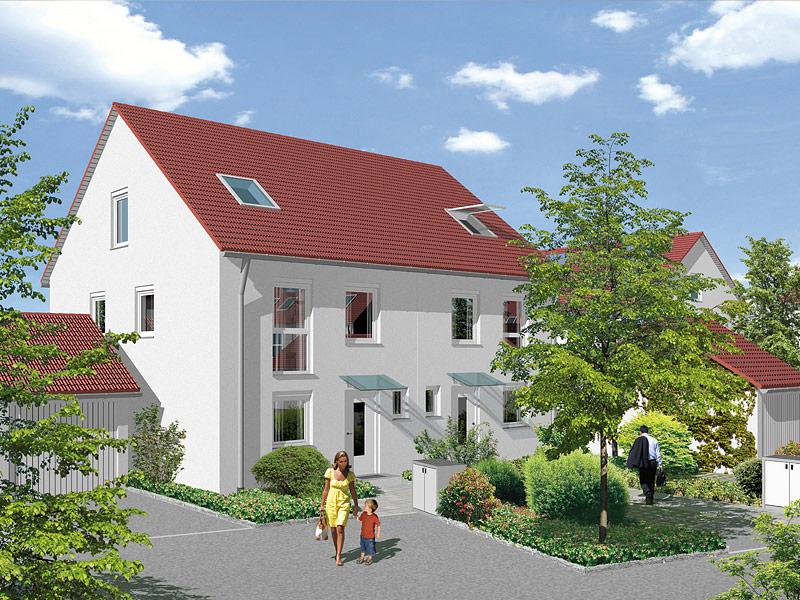 Immobilie Mein Maisach - Illustration Hauseingangsansicht