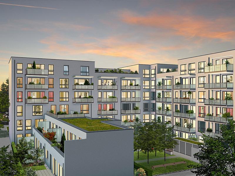 Immobilie VIVA WESTPARK - Illustration Innenhof Abend
