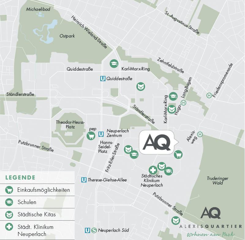 Property Alexisquartier - Alexisquartier - Wohnen am Truderinger Wald - map2
