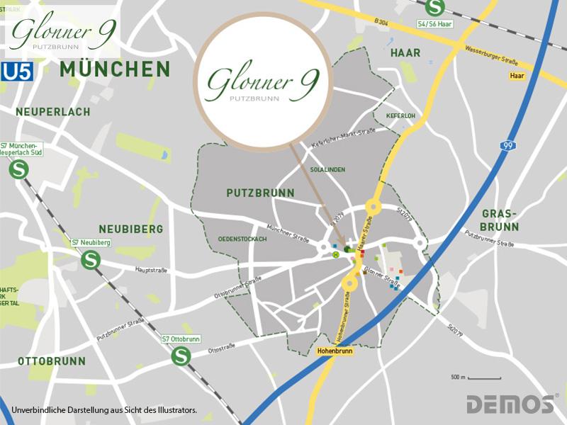 Immobilie Glonner 9 - Stadtplanausschnitt