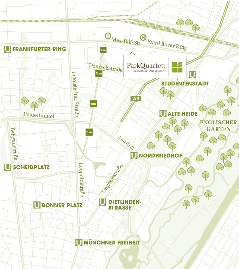 Immobilie ParkQuartett - Stadtplanausschnitt
