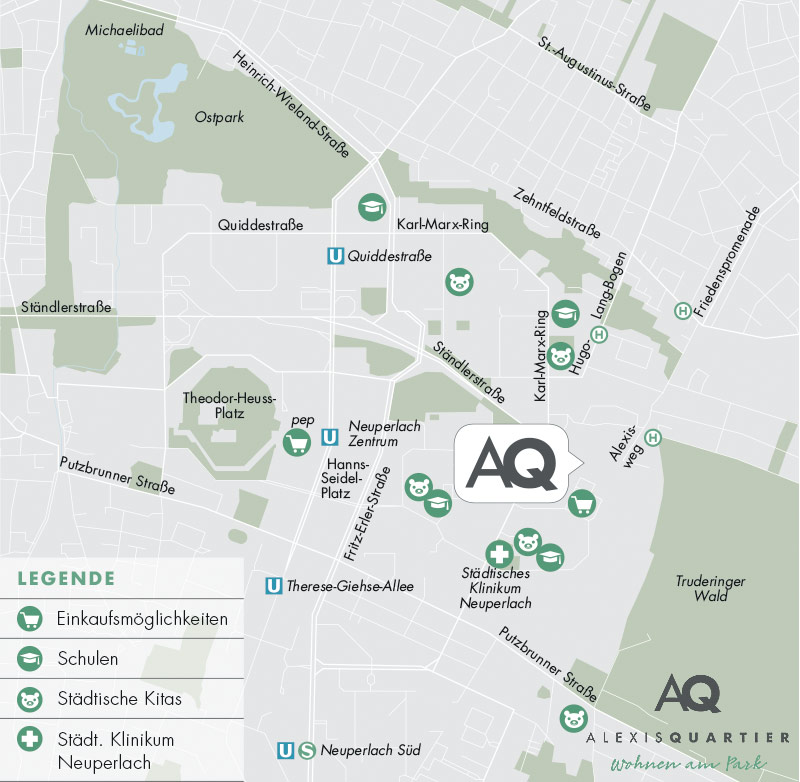 Immobilie Alexisquartier - Wohnen am Truderinger Wald - Stadtplanausschnitt 2