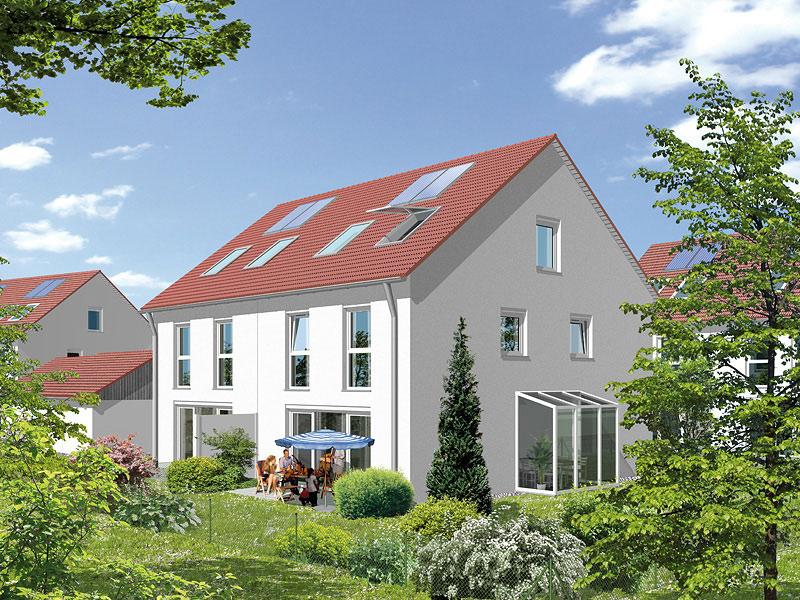 Immobilie Mein Maisach - Illustration Gartenansicht Sonderwunsch Wintergarten