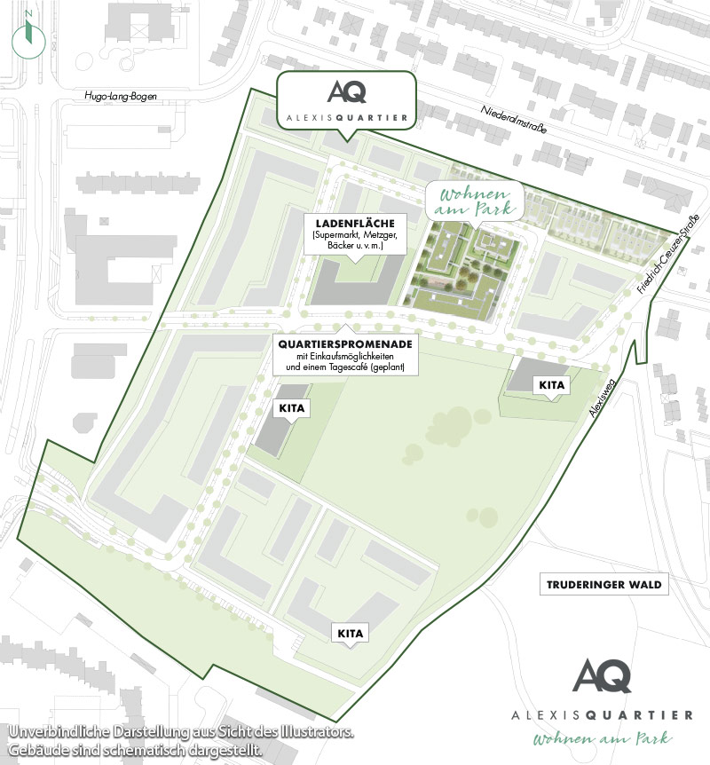 Immobilie Alexisquartier - Eigentumswohnungen - Quartiersplan