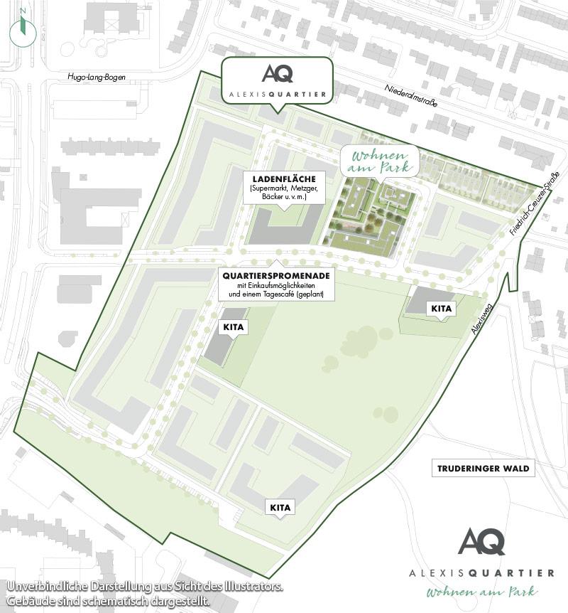 Immobilie Alexisquartier - Wohnen am Park - Gewerbeeinheiten - Quartiersplan