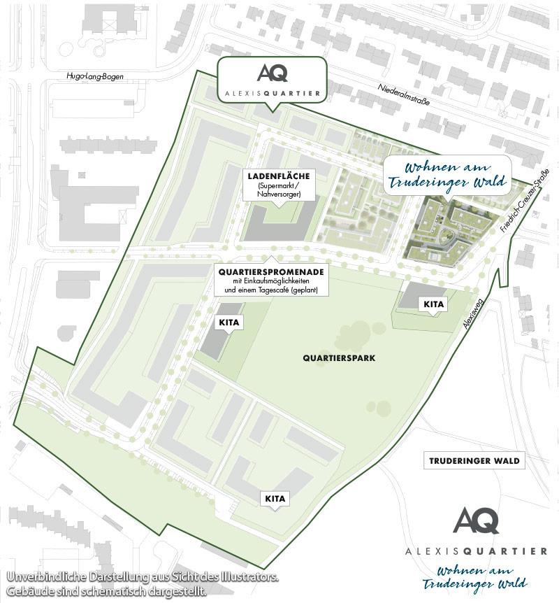 Immobilie Alexisquartier - Alexisquartier - Wohnen am Truderinger Wald - Quartiersplan