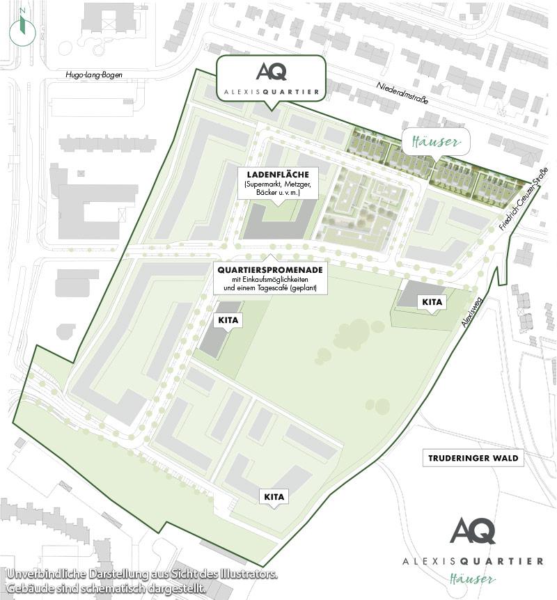 Immobilie Alexisquartier - Reihenhäuser - Quartiersplan