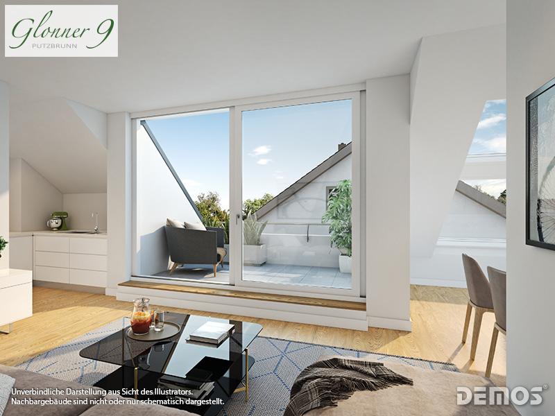 Immobilie Glonner 9 - Beispielillustration Wohnzimmer Reihenhaus nach WEG