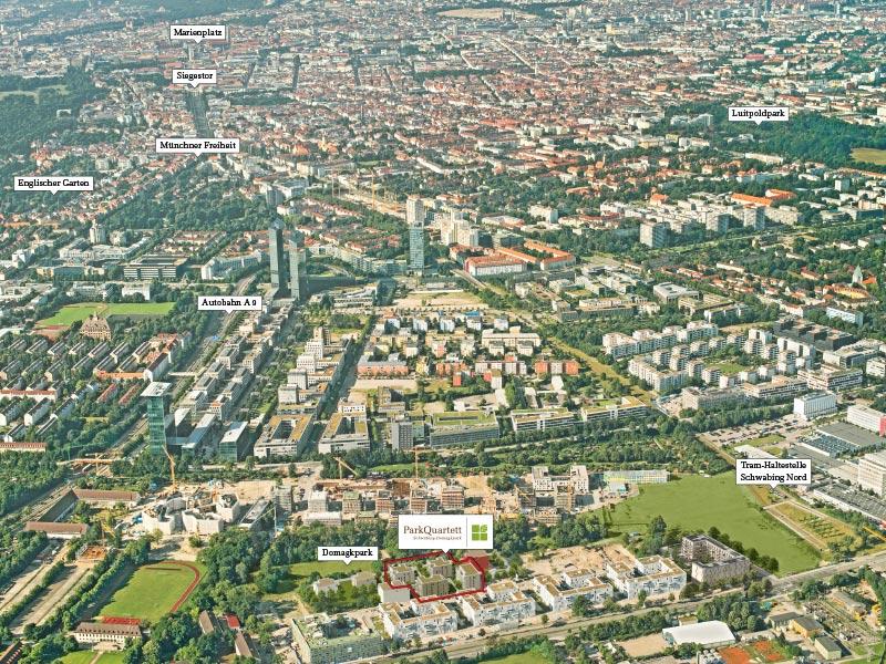 Immobilie ParkQuartett - Luftbild