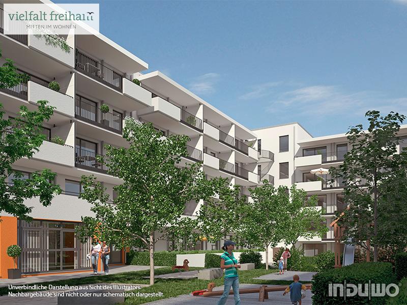 Immobilie Vielfalt Freiham - Illustration Häuser 5, 6, 7, Innenhof