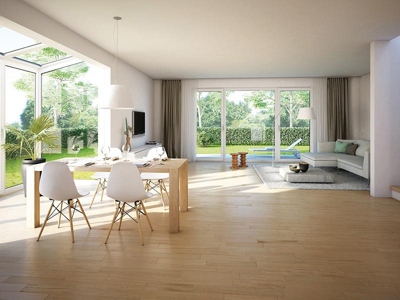Immobilie Mein Maisach - Illustration Wohn- / Esszimmer mit Sonderwunsch Wintergarten