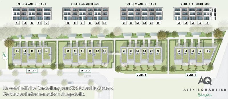 Immobilie Alexisquartier - Reihenhäuser - Lageplan