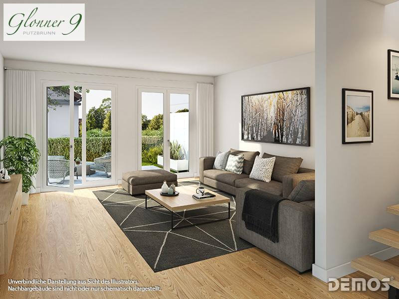 Immobilie Glonner 9 - Beispielillustration Wohnzimmer Dachgeschoss-Eigentumswohnung