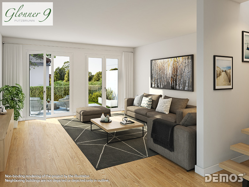 Property Glonner 9 - example illustration living room top floor-condominium