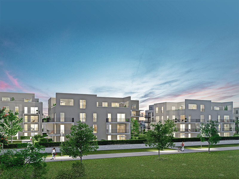 Immobilie ParkQuartett - Illustration Häuser 5, 6 bei Nacht