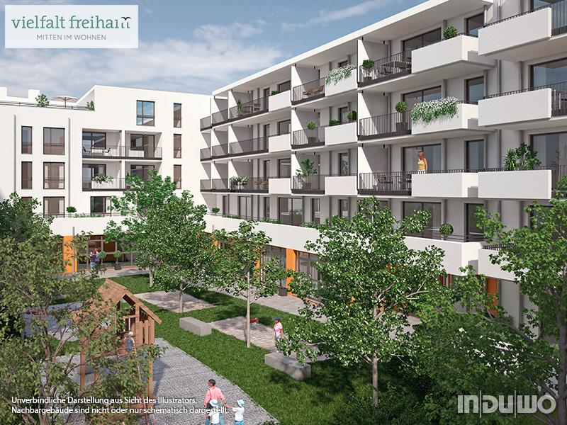 Immobilie Vielfalt Freiham - Illustration Häuser 3, 4, Innenhof