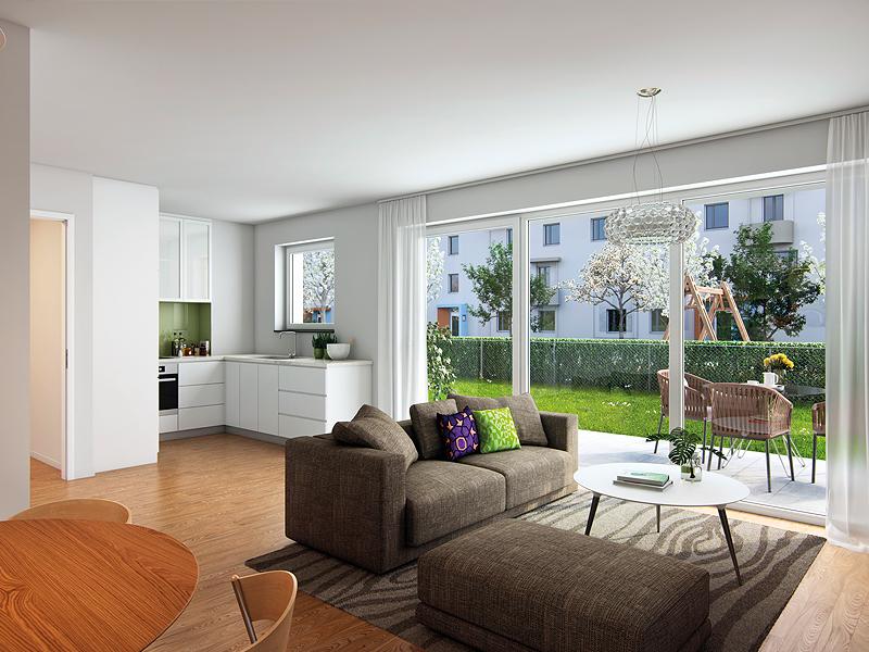 Immobilie Perlacher Grün - Beispielillustration Wohnzimmer 1