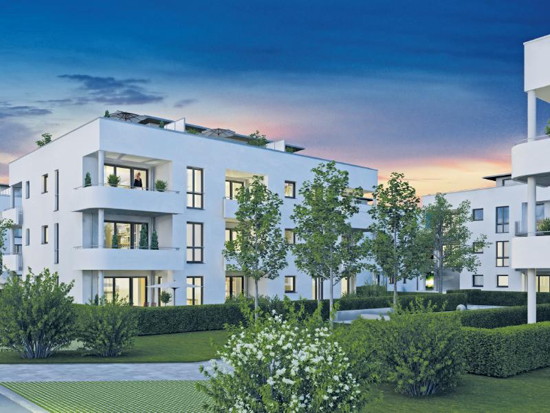 Immobilie Mein Aubing - Illustration Haus 9 Abend
