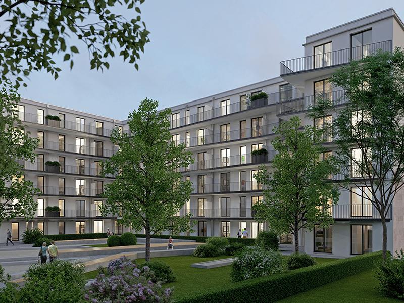 Immobilie Max Schwabing - Illustration Innenhof bei Nacht