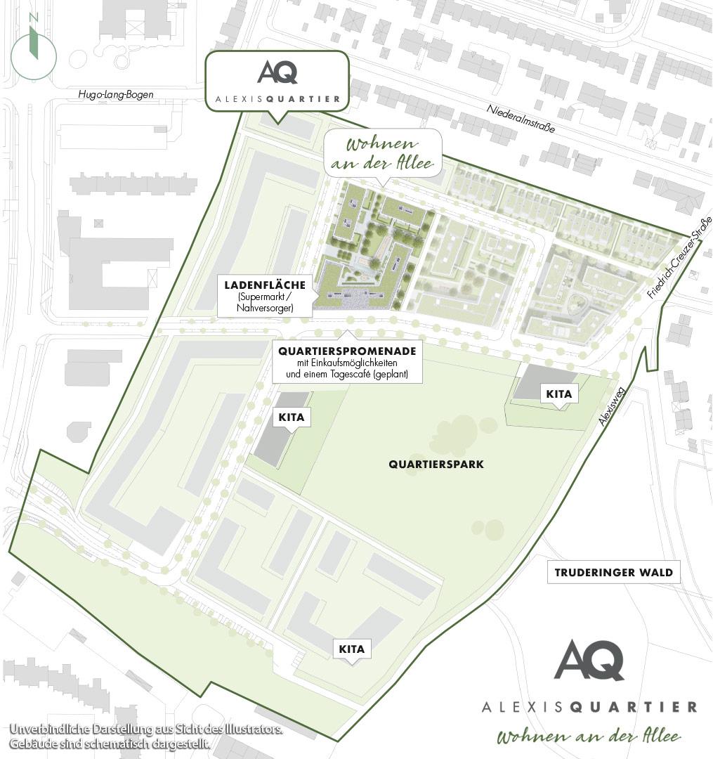 Immobilie Alexisquartier - Wohnen an der Allee - Quartiersplan