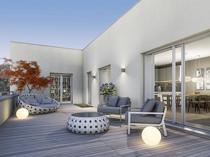 Immobilie ParkQuartett - Beispielillustration Dachterrasse