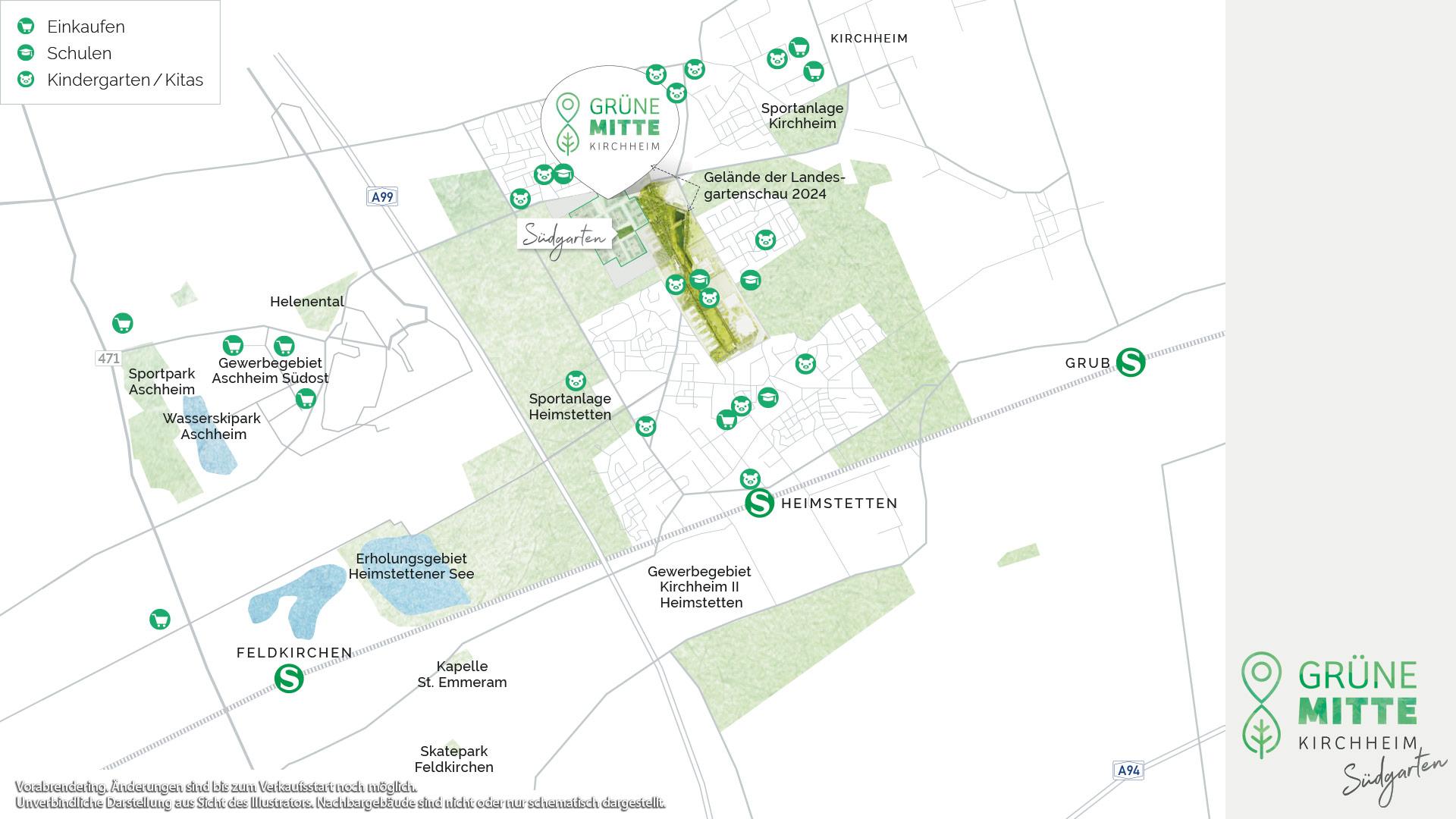 Immobilie Grüne Mitte Kirchheim - Suedgarten - Vorankündigung - Uebersichtsplan