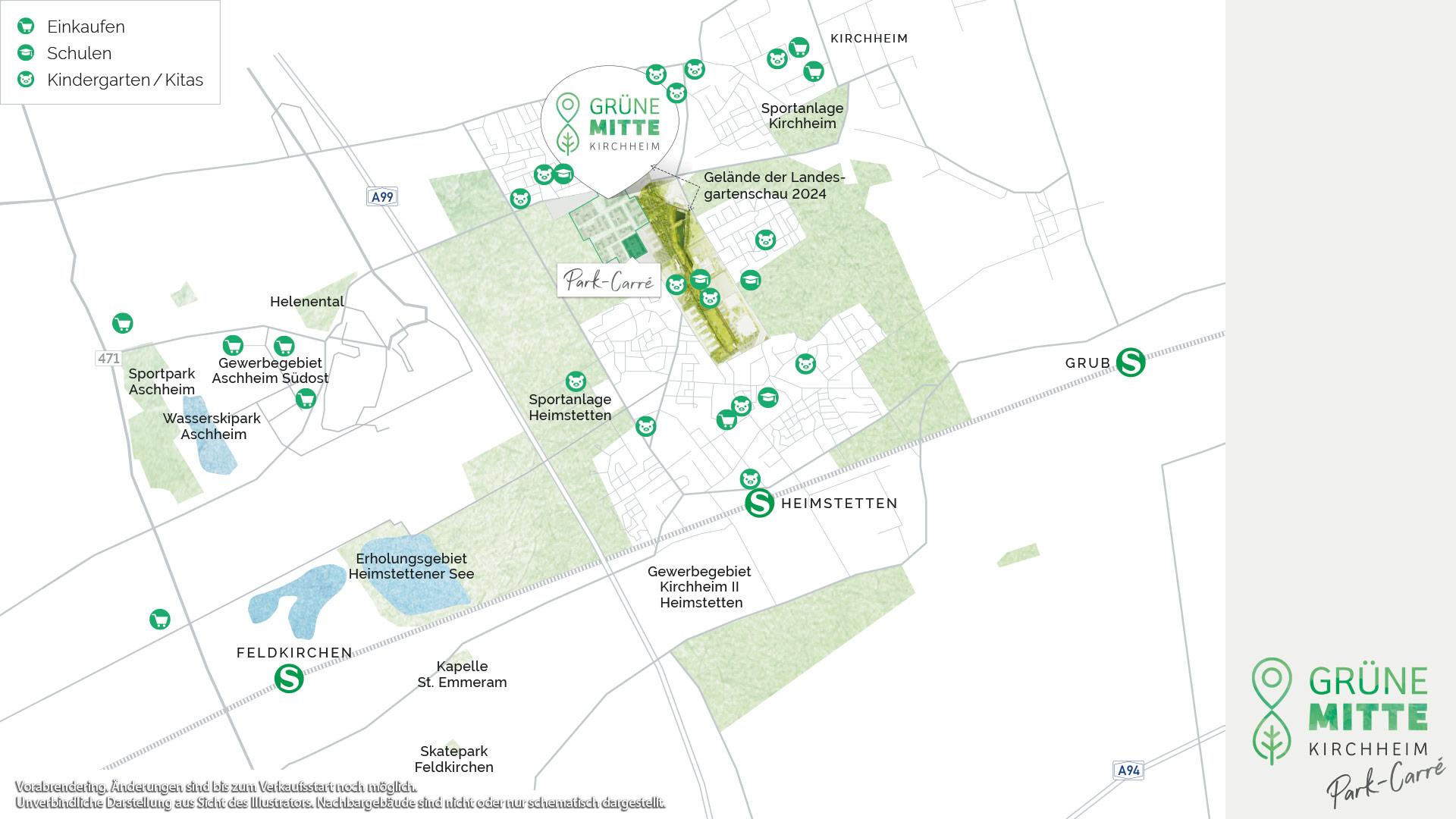 Immobilie Grüne Mitte Kirchheim - Park-Carré - Vorankündigung - Projektübersichtsplan