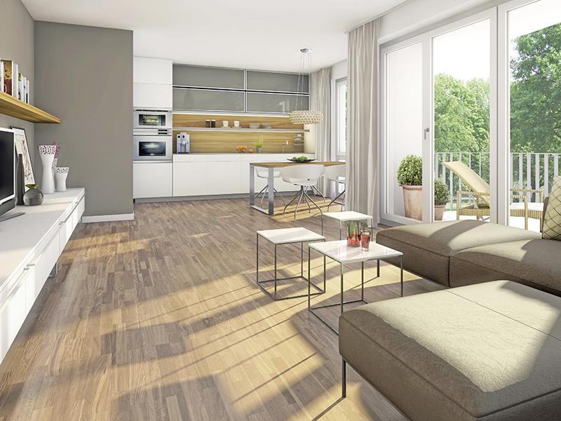 Immobilie Mein Aubing 3 - Illustration Eigentumswohnung 512, Wohnzimmer