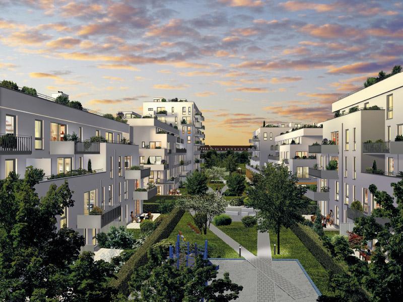 Immobilie NEUE GÄRTEN GIESING II - Illustration Innenhof Abend