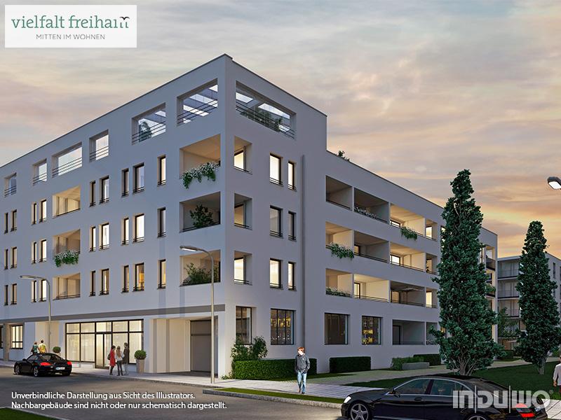 Immobilie Vielfalt Freiham - Illustration Häuser 1, 2, Abendstimmung