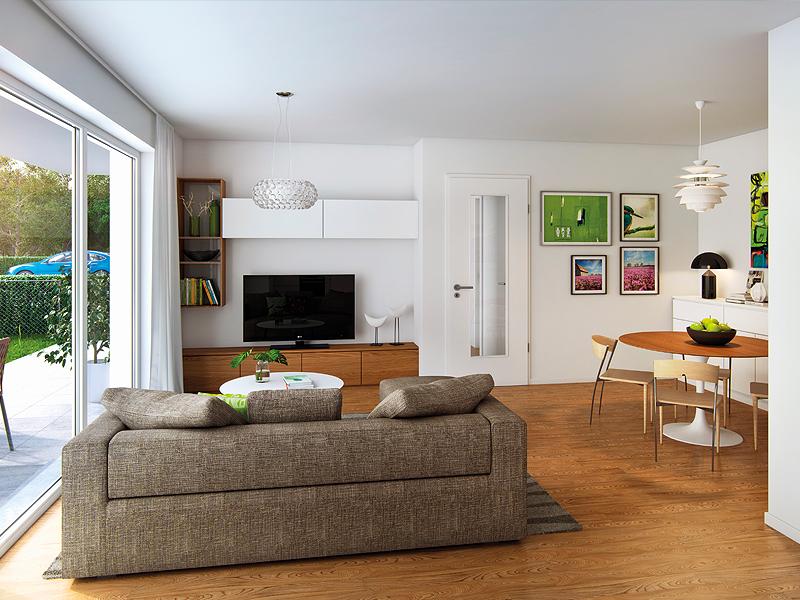 Immobilie Perlacher Grün - Beispielillustration Wohnzimmer 2