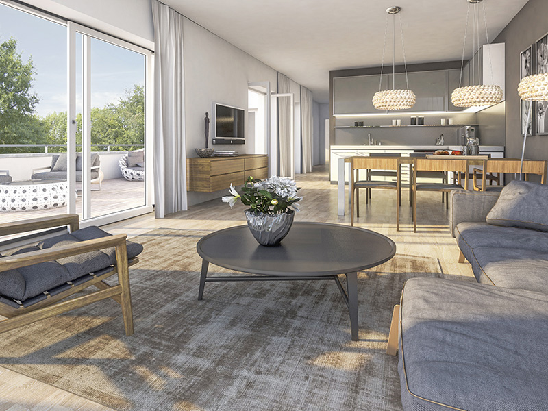 Immobilie ParkQuartett - Beispielillustration Wohnzimmer