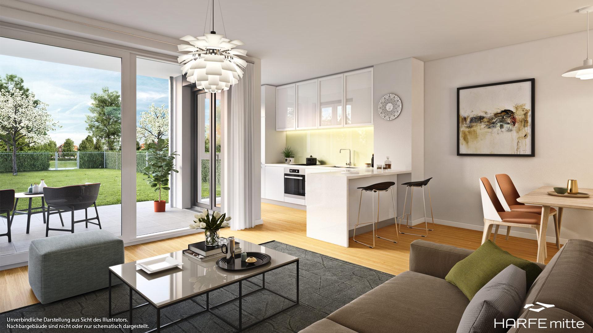 Immobilie HARFE mitte - Beispielillustration Wohnzimmer 1