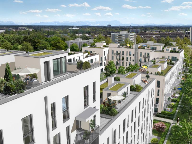 Immobilie NEUE GÄRTEN GIESING II - Illustration Dachterrassen