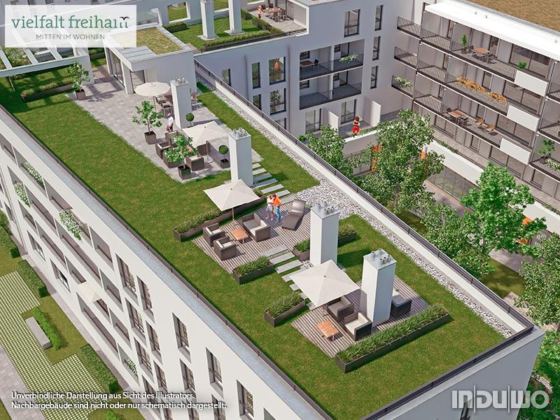 Immobilie Vielfalt Freiham - Illustration Gemeinschaftsdachterrasse