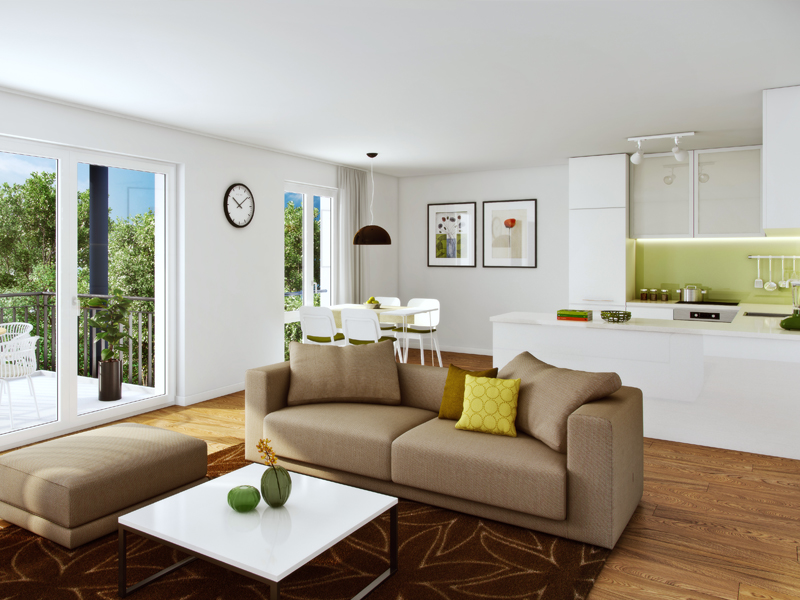 Property Neue Mitte Neufahrn - Illustration condominium 711, living room