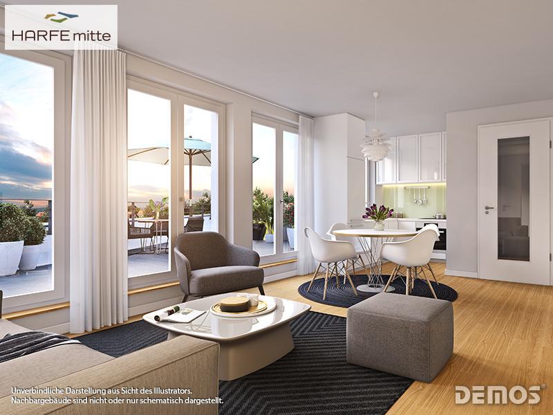Immobilie HARFE mitte - Beispielillustration Wohnzimmer 2
