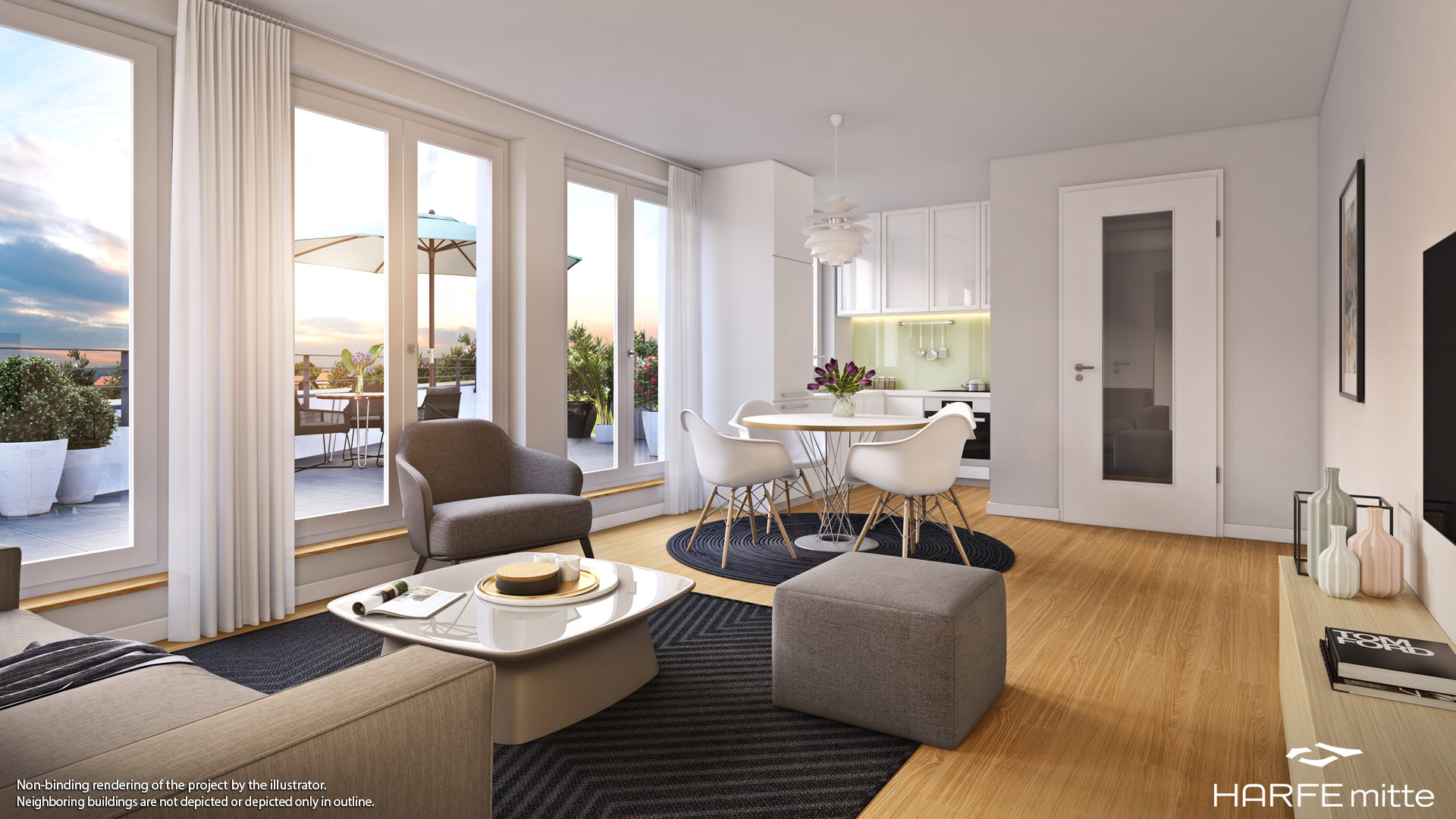 Property HARFE mitte - example illustration living room 2