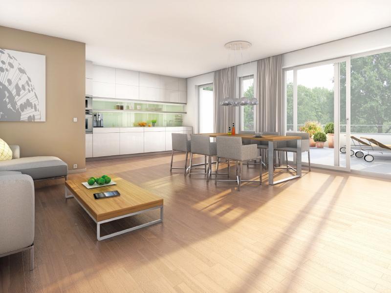 Immobilie NEUE GÄRTEN GIESING II - Illustration Wohnzimmer 1