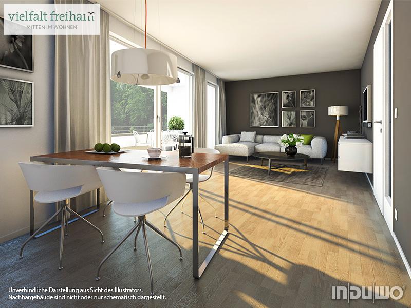 Immobilie Vielfalt Freiham - Beispielillustration Wohnzimmer