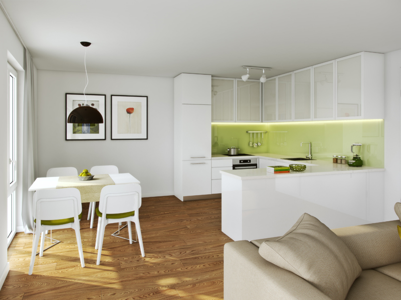 Property Neue Mitte Neufahrn - Illustration condominium 711, kitchen