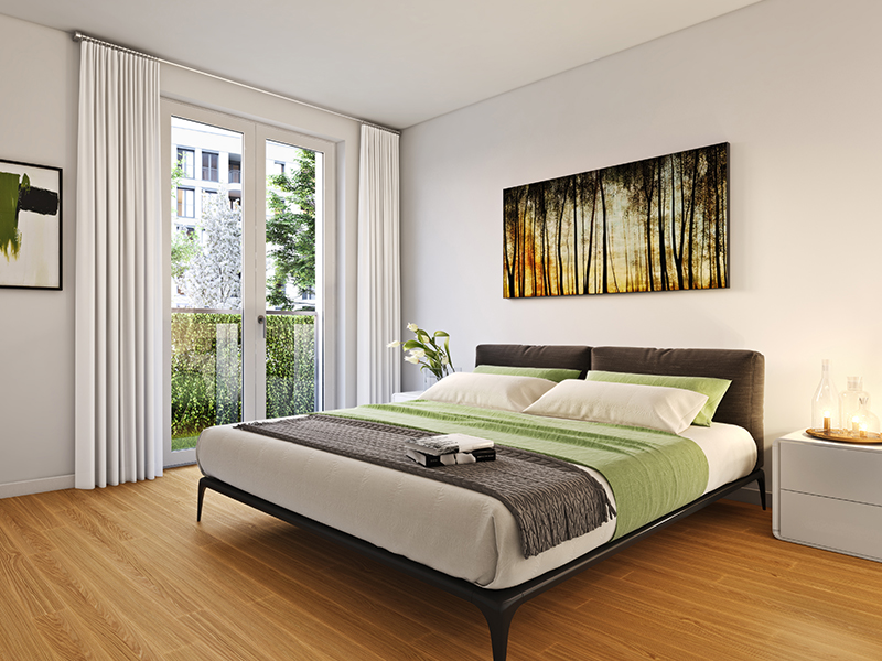 Immobilie HARFE mitte - Beispielillustration Schlafzimmer