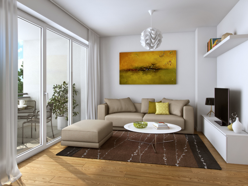 Property Neue Mitte Neufahrn - Illustration condominium 111, living room