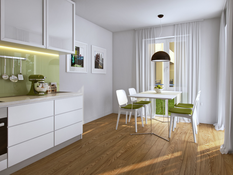 Property Neue Mitte Neufahrn - Illustration condominium 111, kitchen